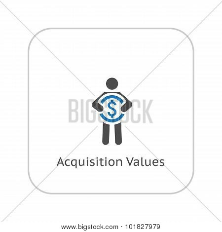 Acquisition Values Icon. Business Concept. Flat Design.