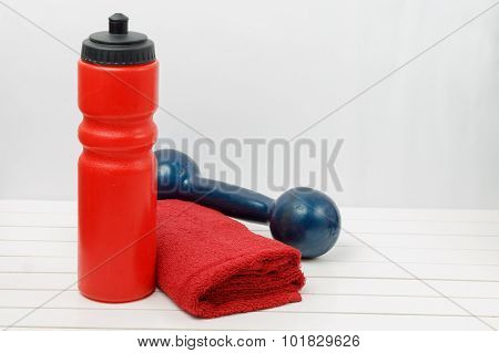 Water Bottle, Towel And Dumbbell