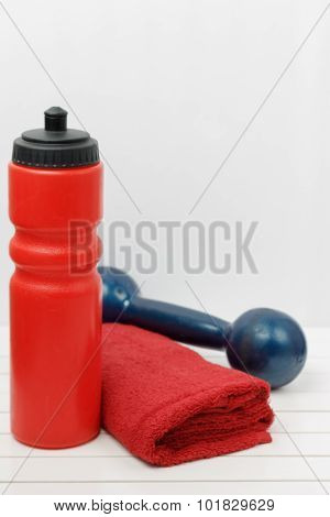 Water Bottle, Towel And Dumbell