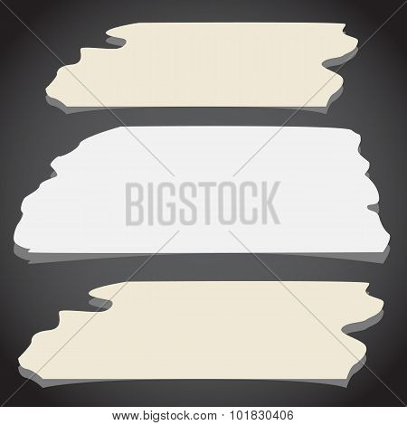 Set of horizontal and different size sticky tape, adhesive pieces on black background