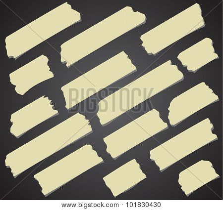 Set of diagonal and different size sticky tape, adhesive pieces on black background