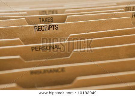 Cardboard Filing System Receipts