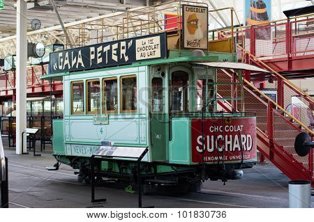 Old Tram With Suchard Advertising