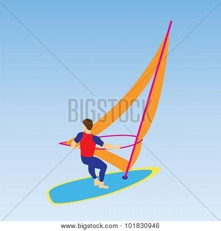Windsurfer On A Board For Windsurfing.