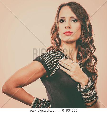 Elegant Woman Wearing Multiple Bracelets