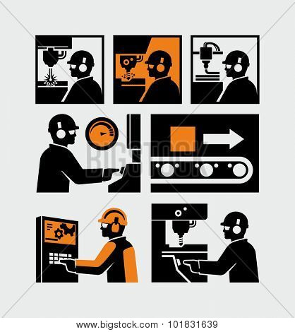 Manufacturing Factory Production Worker Vector Icons