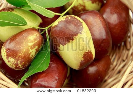 Jujube Fruits In Wicker Basket Closeup