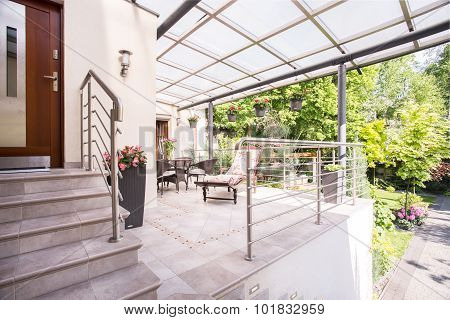Entry And Terrace In Villa