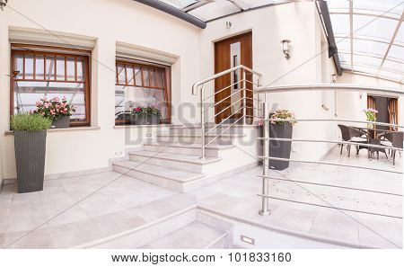 Entry And Terrace In Mansion