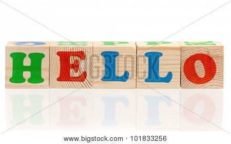 text of HELLO on cubes isolated on white background