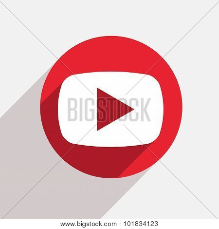 Vector modern play red circle icon