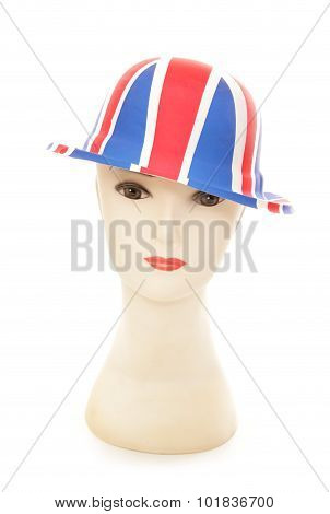 Mannequin Wearing A Union Jack Bowler Party Hat