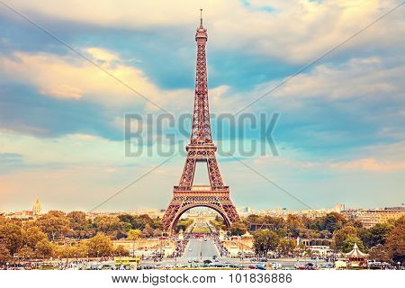 Eiffel Tower at summer sunny evening, Paris