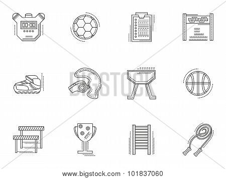 Thin line style physical culture vector icons