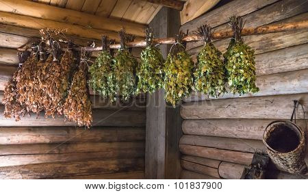 hanging dried and fresh birch branches