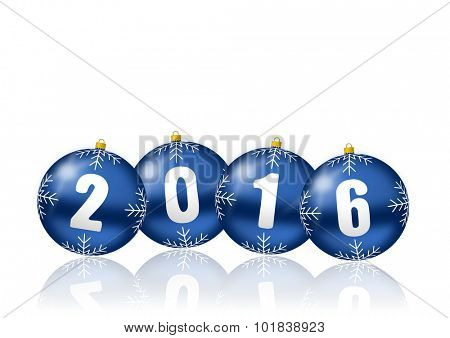 2016 new years illustration with christmas balls