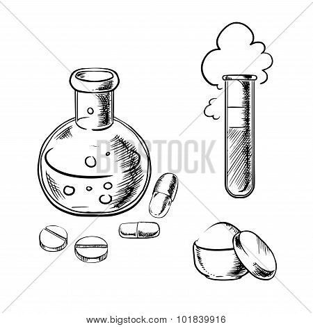 Flask, tube, pills, capsules and powder