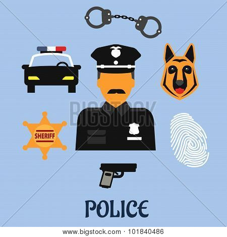 Police profession flat icons and symbols