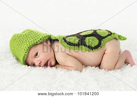 An adorable newborn waking up under his woven turtle hood and back.