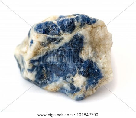 Raw sodalite on white background