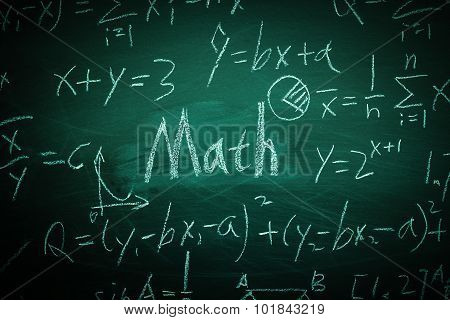 Math Text With Some Formulas On Chalkboard