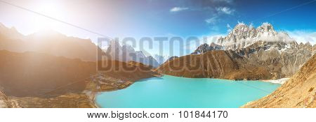 Beautiful turquoise lake high in the mountains. Gokyo Lakes in Nepal