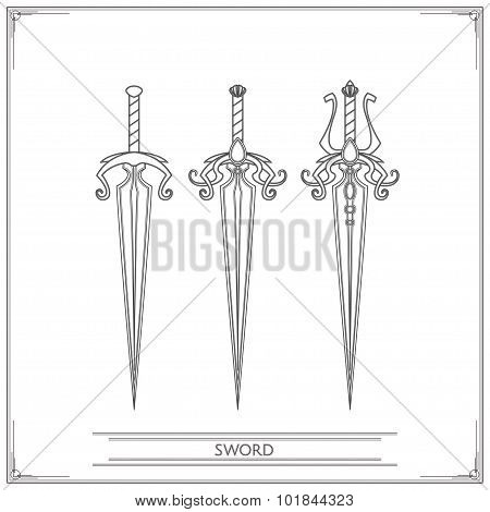Spiky Fantasy Sword Lineart