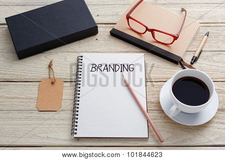 Branding With Brand Tag On Work Desk