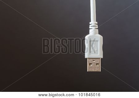 Usb Connection Cable Was Placed In White On A Grey Background