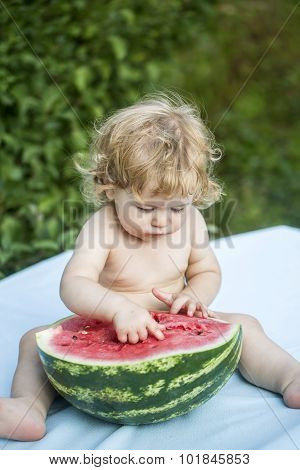 One Boy With Water Melon