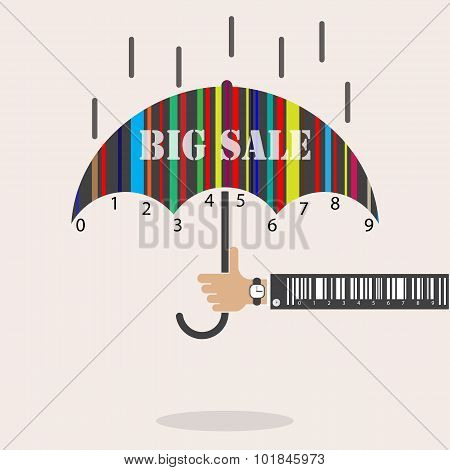 Creative abstract shopping logo design with barcode symbol.