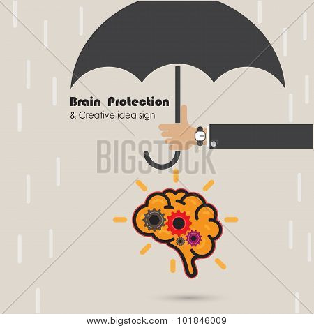 Creative Brain Protection Abstract Vector Logo Design Template. Generate Idea. Brainstorming Logotyp