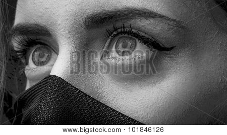 Beautiful Woman With Black Fabric