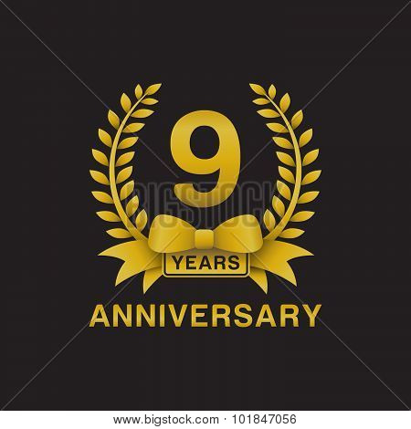 9th anniversary golden wreath logo black background