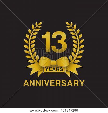 13th anniversary golden wreath logo black background