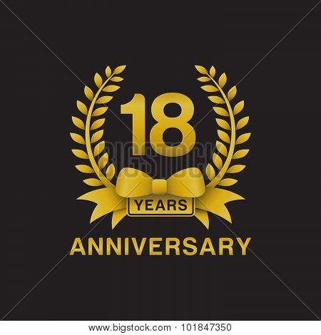 18th anniversary golden wreath logo black background