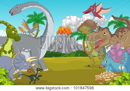 Cartoon dinosaur character with volcano