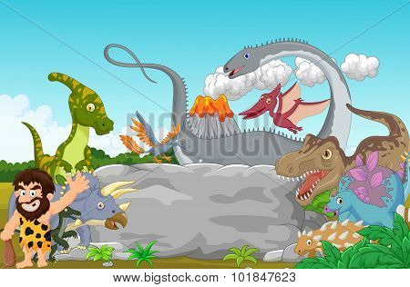 Collection dinosaur with caveman waving