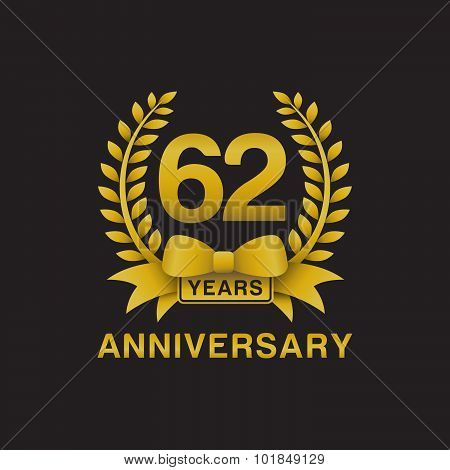 62nd anniversary golden wreath logo black background