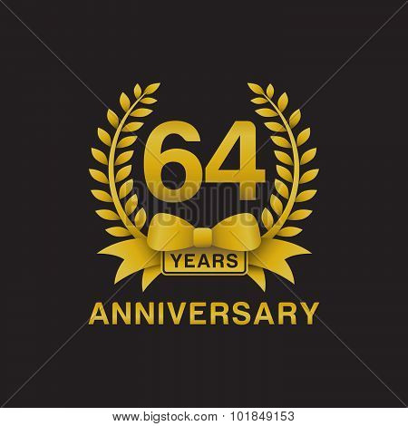 64th anniversary golden wreath logo black background
