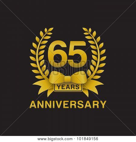 65th anniversary golden wreath logo black background