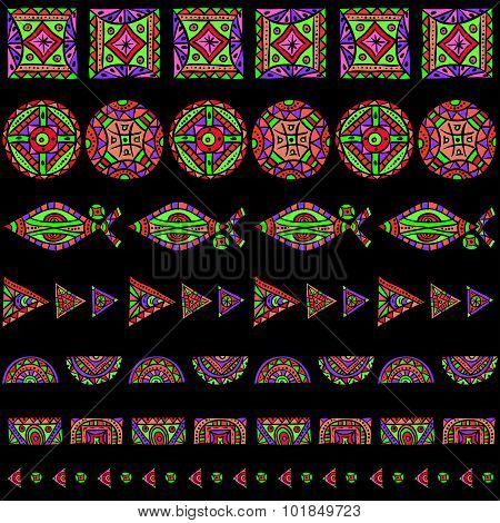 psychedelic ethnic rainbow patterns set
