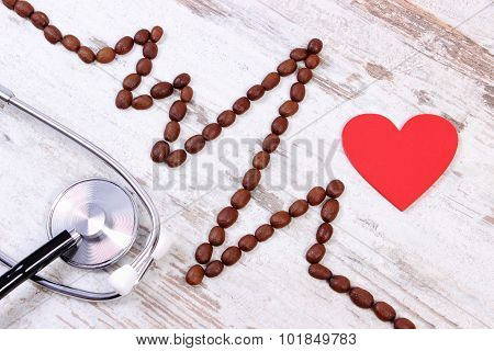 Cardiogram Line Of Coffee Grains And Stethoscope, Medicine And Healthcare Concept