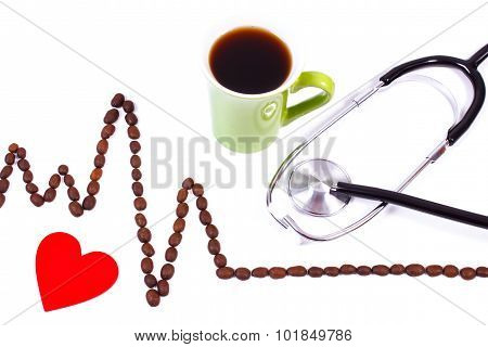 Cardiogram Line Of Coffee Grains, Cup Of Coffee And Stethoscope, Medicine And Healthcare Concept
