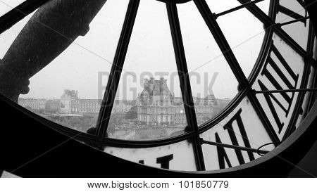 Paris, France - May 14, 2015: Large Clocks With Roman Numerals In Museum D'orsay (black And White)