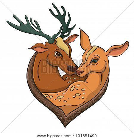 Deers Falling In Love. Illustration With Simple Gradients.