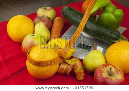 Weight of food, preparing food while dieting. Healthy homemade food. Fruits and vegetables