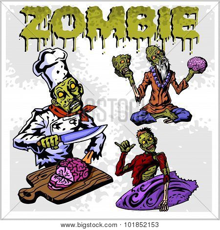 Cartoon zombie - vector set.