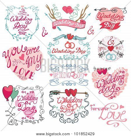 Valentine day set.Frames,swirls,arrows a nd heart decor