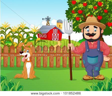 Cartoon farmer holding a rake with dog